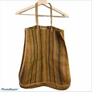 J. Crew 100% jute stripe tote carry all bag stripe
